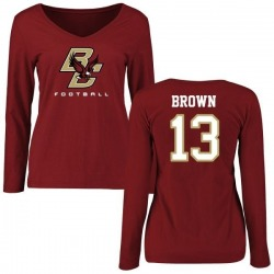 Women's Anthony Brown Boston College Eagles Football Long Sleeve T-Shirt - Maroon