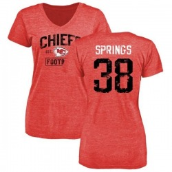 Women's Arrion Springs Kansas City Chiefs Red Distressed Name & Number Tri-Blend V-Neck T-Shirt