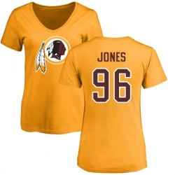 Women's Arthur Jones Washington Redskins Name & Number Logo Slim Fit T-Shirt - Gold
