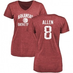 Women's Austin Allen Arkansas Razorbacks Distressed Basketball Tri-Blend V-Neck T-Shirt - Cardinal
