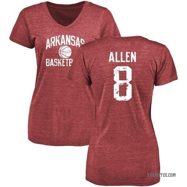Women's Austin Allen Arkansas Razorbacks Distressed Basketball Tri-Blend  V-Neck T-Shirt - Cardinal - Teams Tee