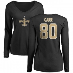 Women's Austin Carr New Orleans Saints Name & Number Logo Slim Fit Long Sleeve T-Shirt - Black
