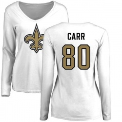 Women's Austin Carr New Orleans Saints Name & Number Logo Slim Fit Long Sleeve T-Shirt - White