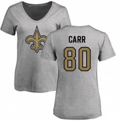 Women's Austin Carr New Orleans Saints Name & Number Logo Slim Fit T-Shirt - Ash