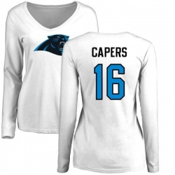 Women's Avius Capers Carolina Panthers Name & Number Logo Slim Fit Long Sleeve T-Shirt - White