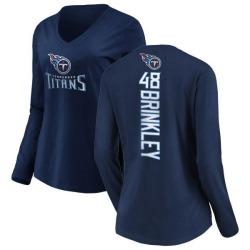 Women's Beau Brinkley Tennessee Titans Backer Slim Fit Long Sleeve T-Shirt - Navy
