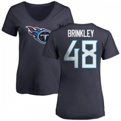 Women's Beau Brinkley Tennessee Titans Name & Number Logo Slim Fit T-Shirt - Navy