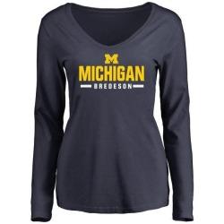 Women's Ben Bredeson Michigan Wolverines Sport Wordmark Long Sleeve T-Shirt - Navy