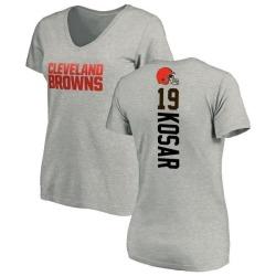 Women's Bernie Kosar Cleveland Browns Backer V-Neck T-Shirt - Ash