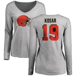Women's Bernie Kosar Cleveland Browns Name & Number Logo Slim Fit Long Sleeve T-Shirt - Ash