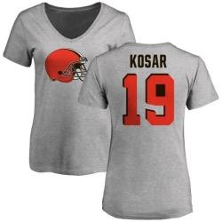 Women's Bernie Kosar Cleveland Browns Name & Number Logo Slim Fit T-Shirt - Ash