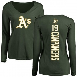 Women's Bert Campaneris Oakland Athletics Backer Slim Fit Long Sleeve T-Shirt - Green