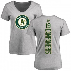 Women's Bert Campaneris Oakland Athletics Backer Slim Fit T-Shirt - Ash