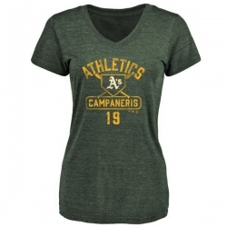 Women's Bert Campaneris Oakland Athletics Base Runner Tri-Blend T-Shirt - Green