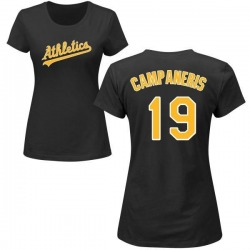 Women's Bert Campaneris Oakland Athletics Roster Name & Number T-Shirt - Black