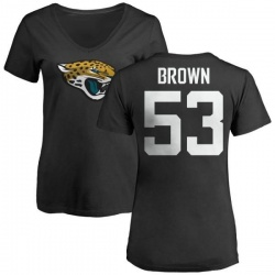 Women's Blair Brown Jacksonville Jaguars Name & Number Logo Slim Fit T-Shirt - Black