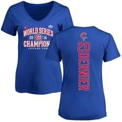 Women's Bob Dernier Chicago Cubs 2016 World Series Champions Back Name & Number V-Neck T-Shirt - Royal
