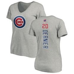 Women's Bob Dernier Chicago Cubs Backer Slim Fit T-Shirt - Ash