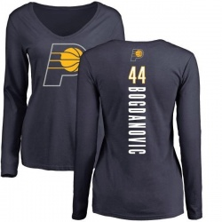 Women's Bojan Bogdanovic Indiana Pacers Navy Backer Long Sleeve T-Shirt