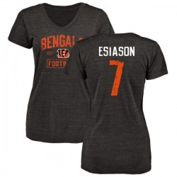 Women's Boomer Esiason Cincinnati Bengals Black Distressed Name & Number Tri-Blend V-Neck T-Shirt