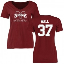 Women's Brad Wall Mississippi State Bulldogs Basketball Slim Fit T-Shirt - Maroon