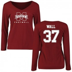 Women's Brad Wall Mississippi State Bulldogs Football Slim Fit Long Sleeve T-Shirt - Maroon