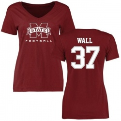 Women's Brad Wall Mississippi State Bulldogs Football Slim Fit T-Shirt - Maroon