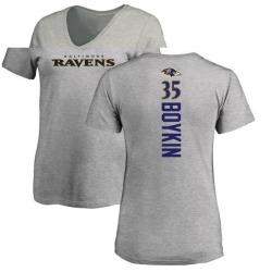 Women's Brandon Boykin Baltimore Ravens Backer V-Neck T-Shirt - Ash