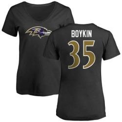 Women's Brandon Boykin Baltimore Ravens Name & Number Logo Slim Fit T-Shirt - Black