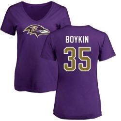 Women's Brandon Boykin Baltimore Ravens Name & Number Logo Slim Fit T-Shirt - Purple
