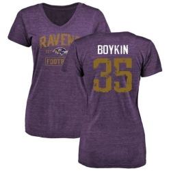 Women's Brandon Boykin Baltimore Ravens Purple Distressed Name & Number Tri-Blend V-Neck T-Shirt