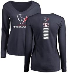 Women's Brandon Dunn Houston Texans Backer Slim Fit Long Sleeve T-Shirt - Navy