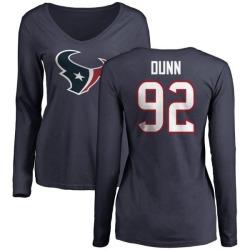 Women's Brandon Dunn Houston Texans Name & Number Logo Slim Fit Long Sleeve T-Shirt - Navy