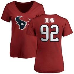 Women's Brandon Dunn Houston Texans Name & Number Logo Slim Fit T-Shirt - Red
