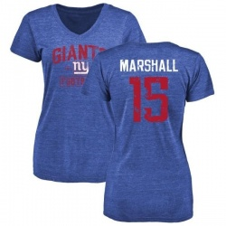 Women's Brandon Marshall New York Giants Distressed Name & Number Tri-Blend T-Shirt - Royal