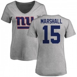 Women's Brandon Marshall New York Giants Name & Number Logo Slim Fit T-Shirt - Ash