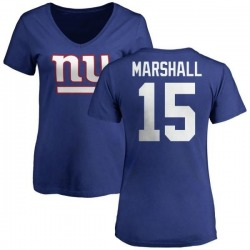 Women's Brandon Marshall New York Giants Name & Number Logo Slim Fit T-Shirt - Royal