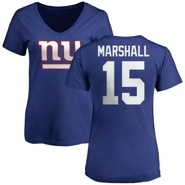 Women's Brandon Marshall New York Giants Name & Number Logo Slim Fit T-Shirt - Royal