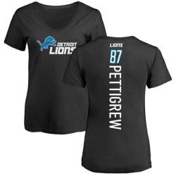 Women's Brandon Pettigrew Detroit Lions Backer Slim Fit T-Shirt - Black