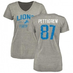 Women's Brandon Pettigrew Detroit Lions Heather Gray Distressed Name & Number Tri-Blend V-Neck T-Shirt