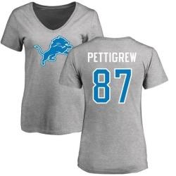 Women's Brandon Pettigrew Detroit Lions Name & Number Logo Slim Fit T-Shirt - Ash