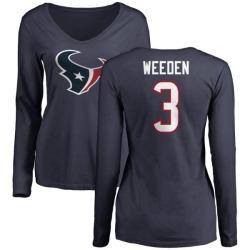 Women's Brandon Weeden Houston Texans Name & Number Logo Slim Fit Long Sleeve T-Shirt - Navy