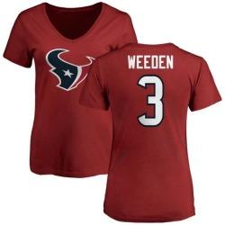 Women's Brandon Weeden Houston Texans Name & Number Logo Slim Fit T-Shirt - Red