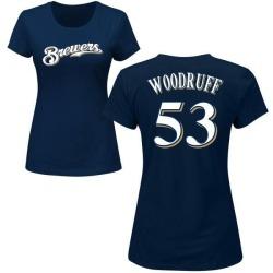 Women's Brandon Woodruff Milwaukee Brewers Roster Name & Number T-Shirt - Navy
