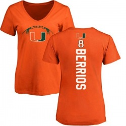 Women's Braxton Berrios Miami Hurricanes Football Backer V-Neck T-Shirt - Orange