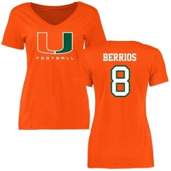 Women's Braxton Berrios Miami Hurricanes Football T-Shirt - Orange