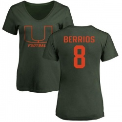 Women's Braxton Berrios Miami Hurricanes One Color T-Shirt - Green