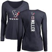 Women's Braxton Miller Houston Texans Backer Slim Fit Long Sleeve T-Shirt - Navy
