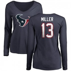 Women's Braxton Miller Houston Texans Name & Number Logo Slim Fit Long Sleeve T-Shirt - Navy