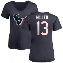 Women's Braxton Miller Houston Texans Name & Number Logo Slim Fit T-Shirt - Navy